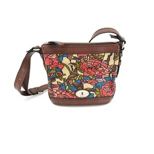 Fossil Leather and Canvas Crossbody Bag